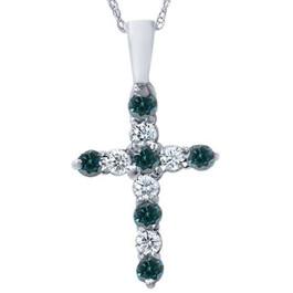 """1/2ct Blue & White Diamond Cross Pendant 14K White Gold W/ 18"""" Chain (G/H, I1)"""