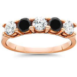 1 1/4 cttw Black & White Diamond Wedding Anniversary 5-Stone Ring 14K Rose Gold (H/I, I1-I2)