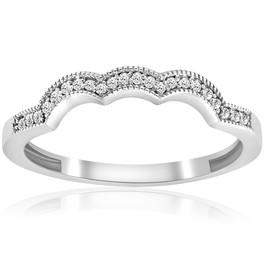1/4CT Diamond Curved Wedding Ring 14K White Gold (G/H, I1)