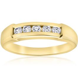 1/2ct Mens 14K Yellow Gold Round Diamond Wedding Ring (G/H, I1)