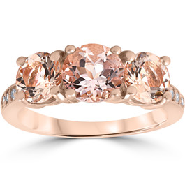 3 1/4 ct Morganite & Diamond 3-Stone Ring 14k Rose Gold (H/I, I1-I2)