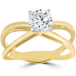 1 ct Round Diamond Solitaire Split Shank Engagement Ring 14K Yellow Gold (G/H, I1-I2)