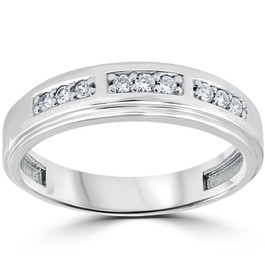 1/4Ct Mens Round Diamond Polished Wedding Ring 10k White Gold (I/J, I1-I2)