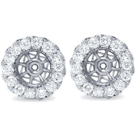 5/8ct Halo Diamond Earring Jackets 14K White Gold (5.5-7mm) (G-H, SI2-SI3)