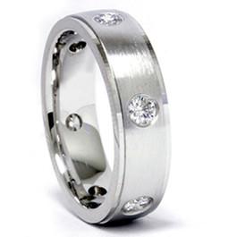 Mens 3/4ct 14K White Gold Diamond Wedding Band Ring (G/H, SI)