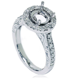 1/2ct Vintage Halo Diamond Ring Setting 14K White Gold (G/H, I1-I2)