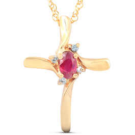 "1/4CT Ruby & Diamond Cross Pendant & Chain 14K Yellow Gold 3/4"" Tall (G/H, I2)"