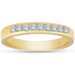 14k Yellow Gold 1/4ct Diamond Wedding Stackable Womens Ring (G/H, I1)