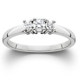 1/4ct Diamond 3-Stone Engagement Ring Three Stone Anniversary White Gold 7 (G, SI)