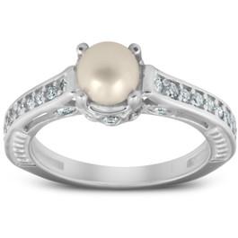 Diamond Pearl Vintage Gatsby Style Ring 14K White Gold (G/H, I2-I3)
