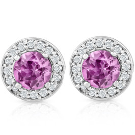 5/8ct Halo Diamond Pink Sapphire Studs 14K White Gold (G/H, I1)
