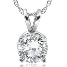 2CT Diamond Round Brilliant Solitaire Pendant & Chain 14k White Gold (H, I2)