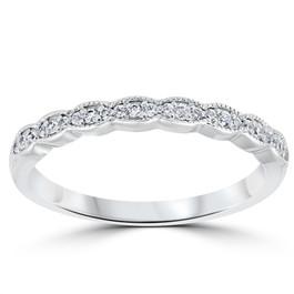 1/5 cttw Diamond Stackable Womens Wedding Ring 14k White Gold (I/J, I2-I3)