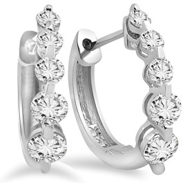 1ct Diamond Hoop Earrings 14K White Gold (G/H, I1)