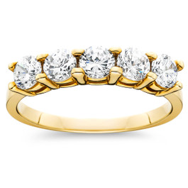 1ct Five Stone Diamond Ring 14K Yellow Gold (G/H, SI2)