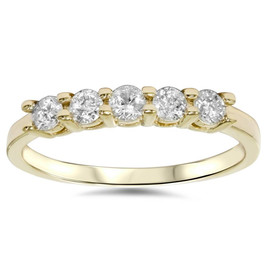 3/4ct Diamond 5-Stone Wedding Anniversary 14K Yellow Gold Ring (G/H, I1)