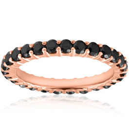 Black Diamond Eternity Ring 14K Rose Gold 1 1/2 Carat Womens Wedding Stackable (Black, AAA)