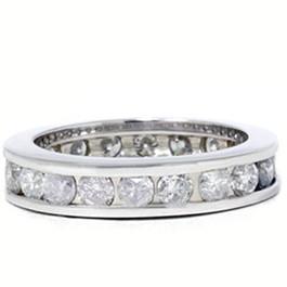 2 CT Channel Set  Round Diamond Eternity Ring 14K White Gold (G/H, I1)