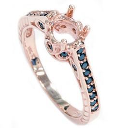 Rose Gold 1/4ct Vintage Black Diamond Ring Setting 14K (Black, AAA)