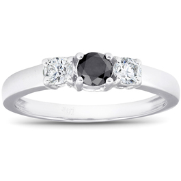 1/2ct Black & White Diamond 3-Stone Engagement Ring 10K White Gold (G/H, I2)