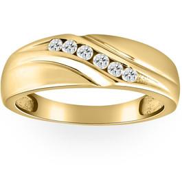 Mens 14K Yellow Gold 1/4ct Diamond Wedding Ring Band (G/H, I1)