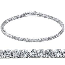 "3ct Round GENUINE Diamond Tennis Bracelet 14K White Gold Womens 7"" Brand New (G/H, I1)"