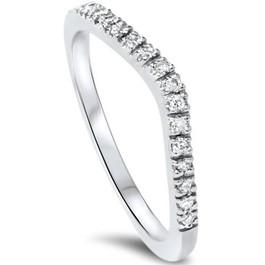 1/8ct Curved Diamond Wedding Ring 14K White Gold (G/H, SI1-SI2)