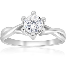 3/4 ct Twist Solitaire Diamond Engagement Ring 14K White Gold (H/I, I1-I2)