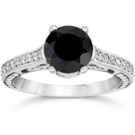 1 3/4ct Black & White Vintage Diamond Engagement Ring 14K White Gold (Black, I2-I3)