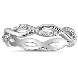 1/3cttw Diamond Infinity Eternity Wedding Ring Stackable 14k White Gold (H/I, I1-I2)