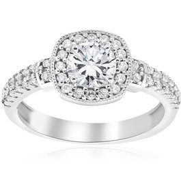 1ct Diamond Pave Cushion Halo Vintage Engagement Ring 14K White Gold (G/H, I1-I2)