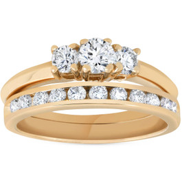 14k Yellow Gold 1ct Diamond Engagement Wedding Ring Set 3Stone Channel Set Round (G/H, I1)