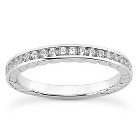 1/3ct Channel Set Diamond Wedding Ring 14K White Gold (G/H, I1-I2)