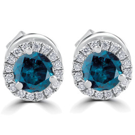 1Ct Blue Diamond Halo Studs 10k White Gold Earrings (Blue, SI)