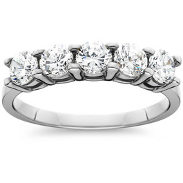 Platinum 1 ct Five Stone Diamond Wedding Ring (G/H, I1)