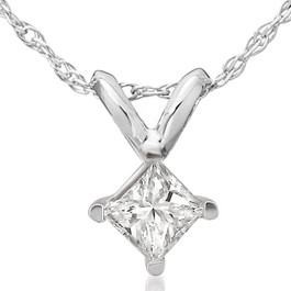 1/2ct Princess Cut Real Diamond Solitaire Pendant Necklace 14k White Gold New (J, I2-3)