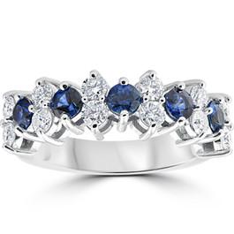2 1/2 cttw Blue Sapphire & Diamond Wedding Anniversary Ring 14k White Gold (H/I, SI(1)-SI(2))
