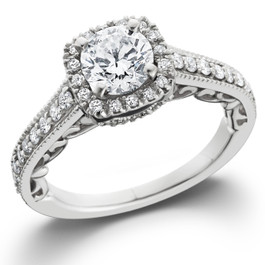 7/8ct Cushion Diamond Vintage Halo Engagement Ring 14K White Gold (G/H, SI1-SI2)