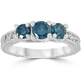 1 Carat Treated Blue Diamond Vintage 3 Stone Ring 10K White Gold (J-K, I1-I2)