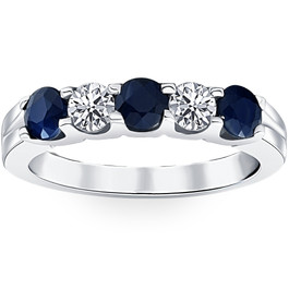 1 cttw Blue Sapphire Diamond Wedding Anniversary U Prong Ring 14K White Gold (H/I, I1-I2)
