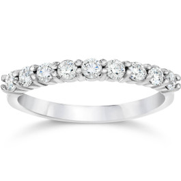 1/2ct Diamond Wedding Ring Half Eternity Wedding Band 14K White Gold (I/J, I2)