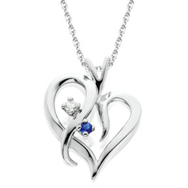 "Blue Sapphire & Diamond Heart Pendant 14 KT White Gold With 18"" Chain (G/H, I2)"