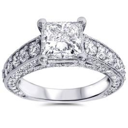 3 3/4ct Princess Cut Diamond Engagement Ring 14K White Gold (G/H, SI2)