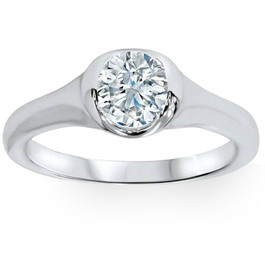 3/4ct Bezel Solitaire Lab Created Diamond Engagement Ring 14K White Gold (F, VS)