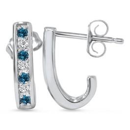 1/3ct Blue & White Diamond Hoops 14K White Gold (G/H, I1-I2)