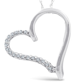 Diamond Heart Shape Pendant Necklace White Gold (G/H, I1)