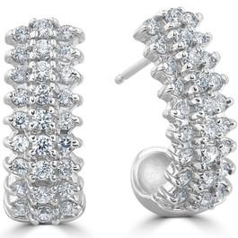 "1 3/8 cttw Diamond Hoops 14k White Gold 3/4"" Tall (H, I2)"