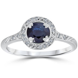 1 1/6ct Blue Sapphire Vintage Diamond Engagement Ring 14K White Gold (G/H, I1)