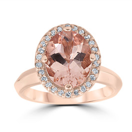 2 1/10ct Oval Morganite Halo Vintage Diamond Engagement Ring 14k Rose Gold (H/I, SI2)