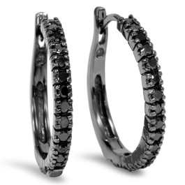 1/2ct Black Diamond Hoops 10K Black Gold (Black, )